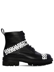 Dsquared 50Mm Lace Up Leather Ankle Boots Black