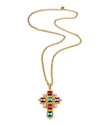 Ben Amun Cross Pendant Necklace W Square Stones Gold