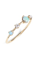 Wwake 'Counting Collection Large Four Step' Opal And Diamond Ring Yellow Gold