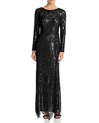 Js Collections Long Sleeve Lace Gown Black Gold