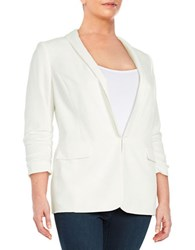 Tahari By Arthur S. Levine Plus Textured Blazer Ivory White