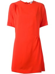 Msgm Ruched Detail Dress Red