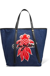 See By Chloe Andy Appliqued Denim Tote Navy