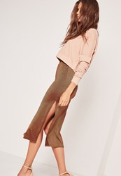 Missguided Double Split Slinky Midi Skirt Bronze Pink