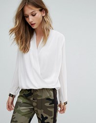 Qed London Cross Front Blouse Cream Gold