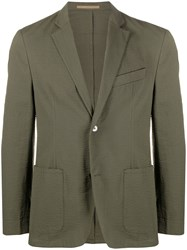 Officine Generale Single Breasted Fitted Blazer Green