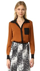 Diane Von Furstenberg Carter Silk Blouse Colorblock Copper