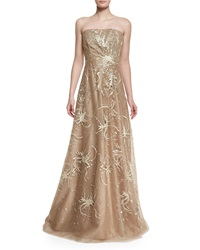 Rene Ruiz Strapless Embroidered Gown Gold