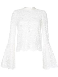 Aula Long Sleeved Lace Detail Top Rayon Nylon Cotton White