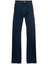 Gcds Wide Fit Logo Patch Trousers Blue