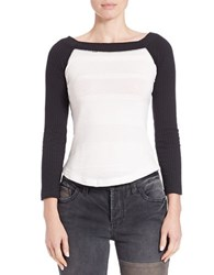 Free People Jersey Boatneck Baseball Tee