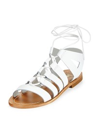 Neiman Marcus Made In Italy Amorie Leather Lace Up Sandal White