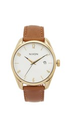 Nixon Bullet Leather Watch Gold Saddle