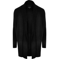 River Island Mens Black Ribbed Wool Blend Cardigan