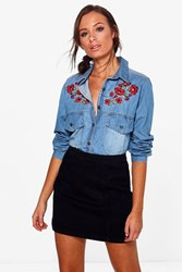 Boohoo Floral Embroidered Denim Shirt Mid Blue