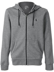 Polo Ralph Lauren Embroidered Logo Hoodie Cotton Polyester M Grey