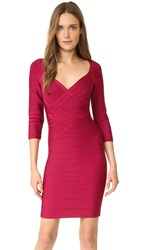 Herve Leger Alicia 3 4 Sleeve Dress Dark Maroon