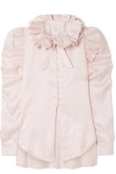 Hillier Bartley Diana Ruffled Striped Silk Satin Shirt Baby Pink