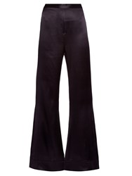 Ellery Revolver Flared Silk Satin Trousers