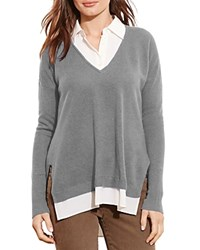 Ralph Lauren Layered Look Cashmere Sweater Concrete Heather