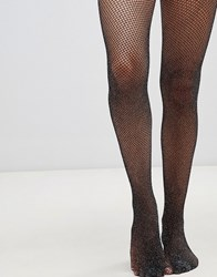 Gipsy Glitter Fishnet Tights Black Silver