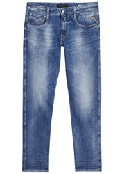 Replay Anbass Blue Faded Slim Leg Jeans