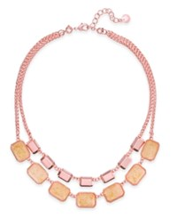 Charter Club Rose Gold Tone Orange Pink Stone 2 In 1 Necklace Only At Macy's