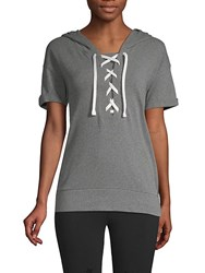 Marc New York Lace Up Short Sleeve Hooded Sweatshirt Grey Heather