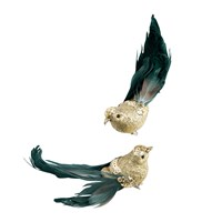 Gisela Graham Glitter Bird With Feather Clip Tree Decoration Set Of 2 Gold Blue Green