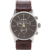 Nixon Men's Sentry Chrono Watch Brown