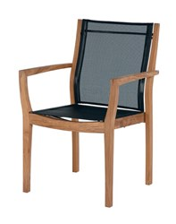 Barlow Tyrie Horizon Stacking Armchair Sling Charcoal 500 Black