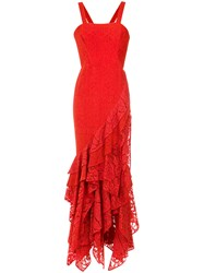 Martha Medeiros Maite Lace Gown Polyamide Cotton Red
