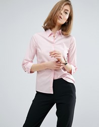 Asos 3 4 Sleeve White Shirt In Stretch Cotton Pink