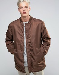 Adpt Longline Bomber Jacket With Drawstring Hem And Two Way Zip French Roast Red