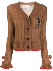 Marco De Vincenzo Ruffle Cuffs Cardigan Brown