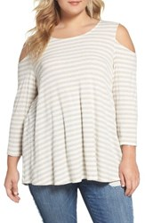 Bobeau Plus Size Women's Stripe Rib Knit Cold Shoulder Top H Oat Off White