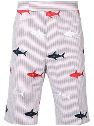 Thom Browne Embroidered Sharks Striped Bermudas Men Cotton 3