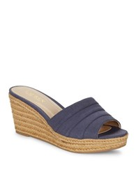 Lauren Ralph Lauren Karlia Espadrille Wedge Sandals Navy Blue
