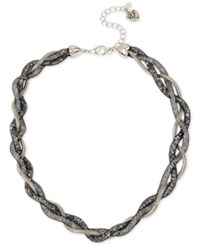 Betsey Johnson Silver Tone Braided Crystal Mesh Collar Necklace
