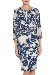 Gina Bacconi Printed Chiffon And Satin Dress And Jacket Navy Nude