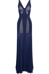 Herve Leger Pleated Paneled Bandage And Chiffon Gown Navy