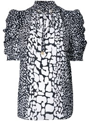 Michael Michael Kors Patterned Ruched Sleeve Blouse Silk White