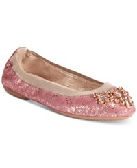 White Mountain Carella Embellished Flats Women's Shoes Rose Gold