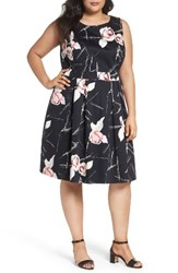Sejour Plus Size Women's Floral Fit And Flare Dress