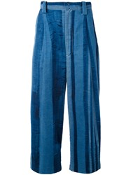 Y's Striped Cropped Trousers Women Cotton 1 Blue