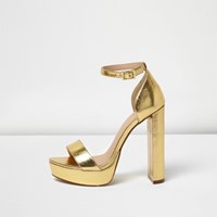 River Island Womens Gold Platform Heel Sandals