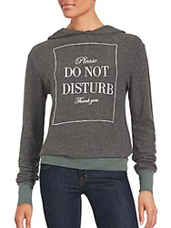 Wildfox Couture Long Sleeve Do Not Disturb Hoodie Dirty Black