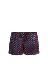 Derek Rose Brindisi 7 Print Silk Satin Pyjama Shorts Burgundy Multi