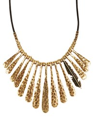 Lucky Brand Goldtone And Leather Fan Feather Necklace