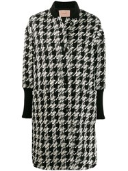 Twin Set Houndstooth Single Breasted Coat Black